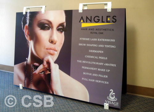 Size 48x32 Sandwich Board Sign With Photo And Plastic Feet