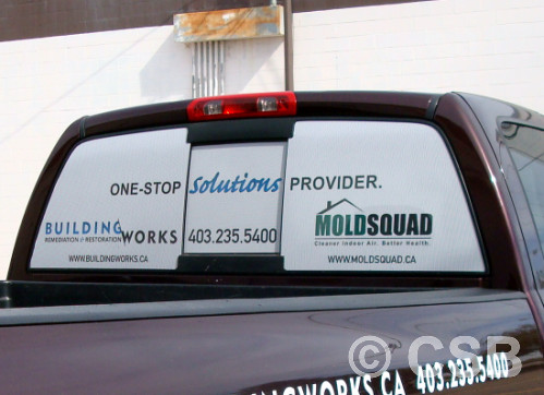 Calgary perforated vinyl decals for trucks view