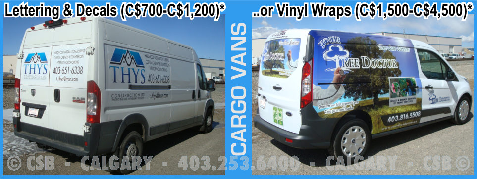 Cargo Van Decals And Wraps Prices Calgary Alberta