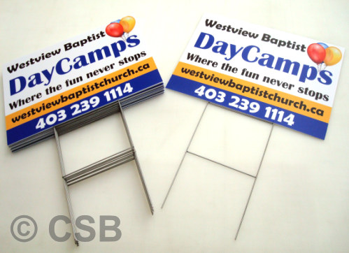 Calgary Printed Coroplast Lawn Signs with Stakes