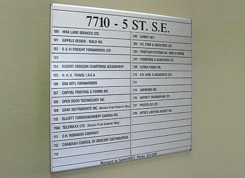 Lobby Directory Signs Calgary Sign Company Does Design