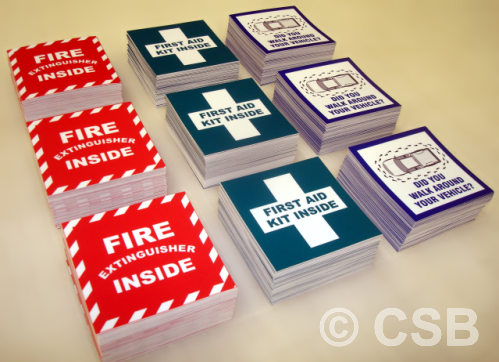 Fire Extinguisher First Aid Vehicle Safety Stickers