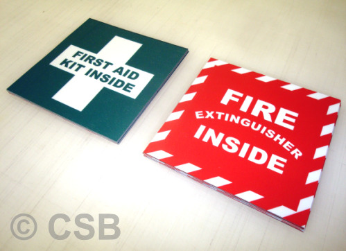 First Aid Kit Fire Extinguisher Inside Stickers