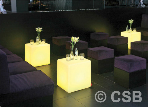 Illuminated Custom Cube Tables For Bars Night Clubs