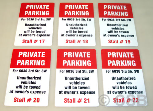 Parking Signs Numbered Stall