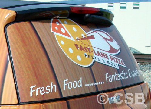 Perforated vinyl car window decals calgary view