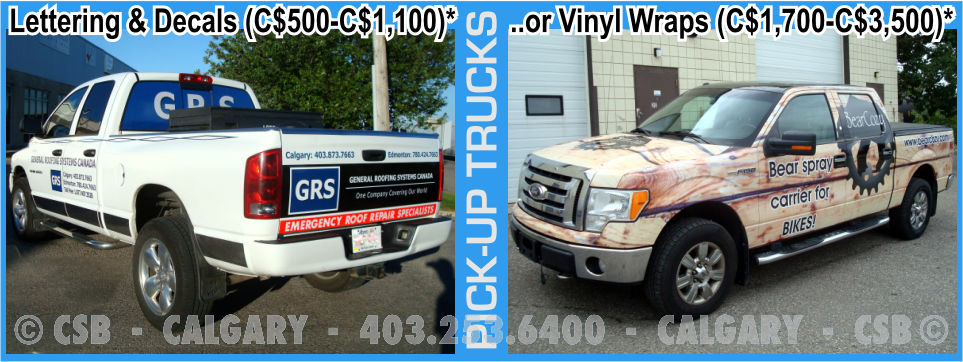 Pick-Up Truck Decals And Wraps Prices Calgary Alberta