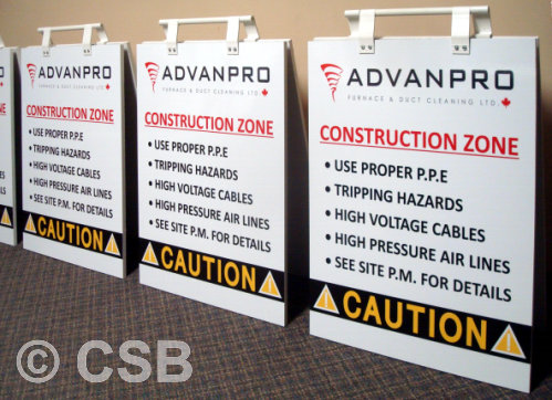 Sample Portable Warning Safety Sandwich Board Signs CSB Calgary Made