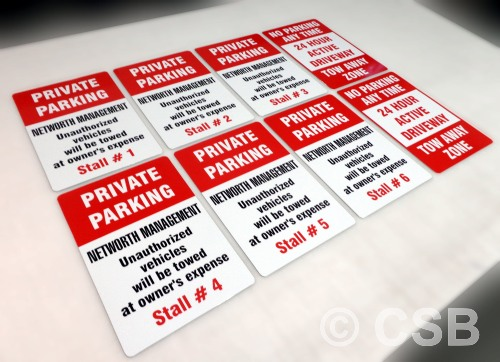 Private Parking Signs With Numbered Stalls For Corporations