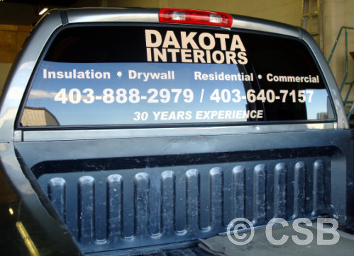 Calgary truck decal for rear window view